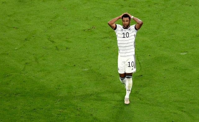 Serge Gnabry missed a chance for Germany