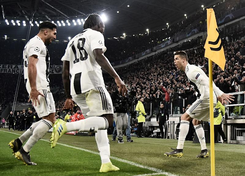 f10e7bf33 Cristiano Ronaldo celebrates with Emre Can and Moise Kean after scoring a  hat-trick in