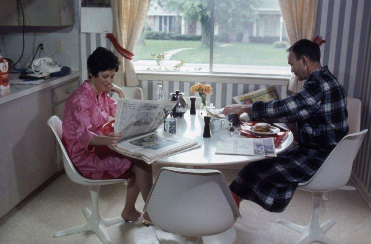Not originally published in LIFE. Michael Collins and his wife Pat share breakfast in their Texas home, 1969. (Ralph Morse—Time & Life Pictures/Getty Images)   Click here to see the full collection at LIFE.com