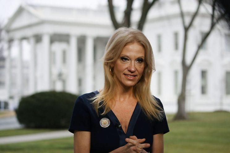 "Kellyanne Conway prepares to appear on ""Meet the Press"" on Sunday. (Mark Wilson/Getty Images)"