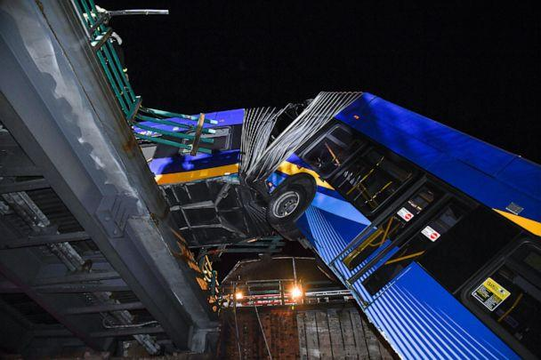 PHOTO: Various people were injured after a passenger bus experienced an issue and was left hanging off an overpass in New York's Bronx, Jan. 14, 2021. (Marc A. Hermann/MTA New York City Transit)