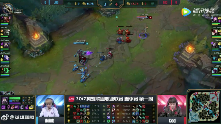 Jinoo created a freezing wave to push against him in an attempt to deny Kabe, giving JDG an initial tempo advantage in the swap (lolesports)