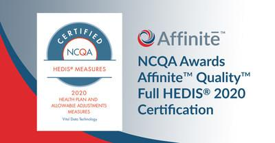 Vital Data Technology's Affinite Quality solution receives HEDIS 2020 Certification from NCQA
