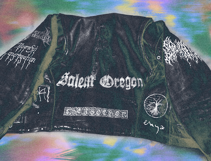 Blood Incantation frontman Paul Riedl's leather jacket with the Enya logo. Photo courtesy of the artist. Treatment by Drew Litowitz.