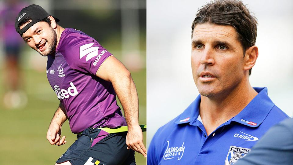 Pictured right, Bulldogs coach Trent Barrett and Storm hooker Brandon Smith on the left.