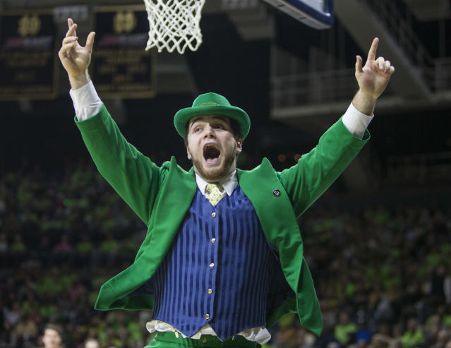 The Notre Dame leprechaun took a tumble in the ACC mascot game. (AP Photo)