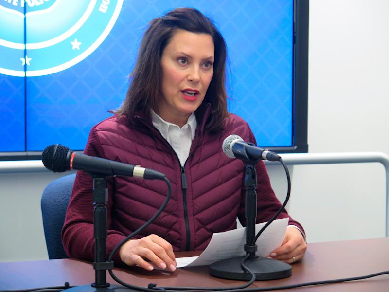 Michigan Gov. Gretchen Whitmer announces the state's first two cases of coronavirus, at the Michigan State Police headquarters in Windsor Township, Mich. on March 10, 2020.