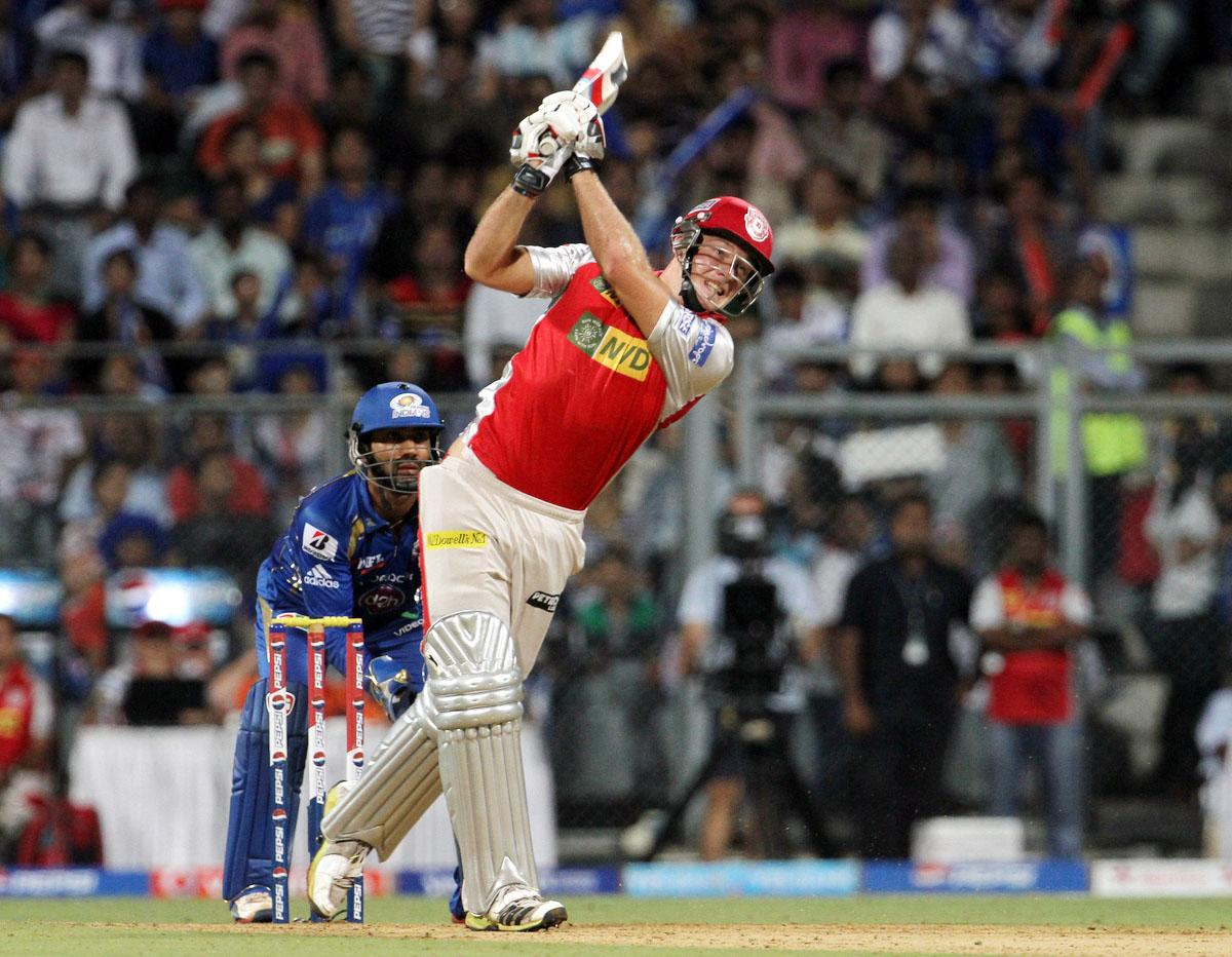 Kings XI Punjab player David Miller plays a shot during match 41 of the Pepsi Indian Premier League ( IPL) 2013 between The Mumbai Indians and the Kings XI Punjab held at the Wankhede Stadium in Mumbai on the 29th April 2013. (BCCI)