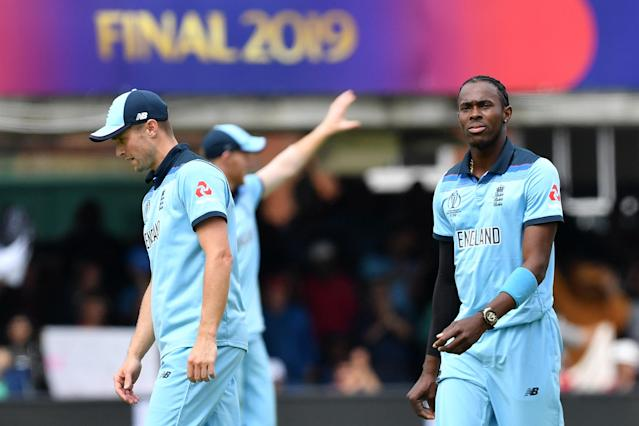 Jofra Archer bowled England to the World Cup final - and then got them over the line (Photo by Paul ELLIS / AFP)