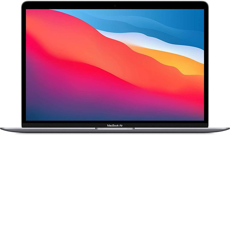 """<p><strong>Apple</strong></p><p>amazon.com</p><p><strong>$949.00</strong></p><p><a href=""""https://www.amazon.com/dp/B08N5KWB9H?tag=syn-yahoo-20&ascsubtag=%5Bartid%7C10049.g.36678553%5Bsrc%7Cyahoo-us"""" rel=""""nofollow noopener"""" target=""""_blank"""" data-ylk=""""slk:Buy"""" class=""""link rapid-noclick-resp"""">Buy</a></p><p><del>$999.00</del> <strong>(5% off)</strong></p><p>In case the last year of WFH fried your poor laptop beyond recognition, the latest Macbook Air has a few bucks knocked off the top.</p>"""