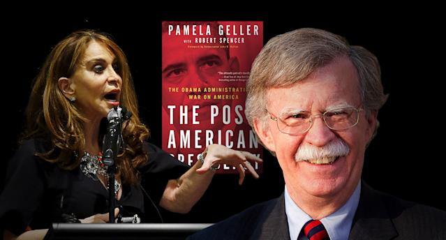 Activist and author Pamela Geller and John Bolton. (Photo illustration: Yahoo News; photos: Mike Stone/Reuters, Amazon, Simon Dawson/Bloomberg via Getty Images)