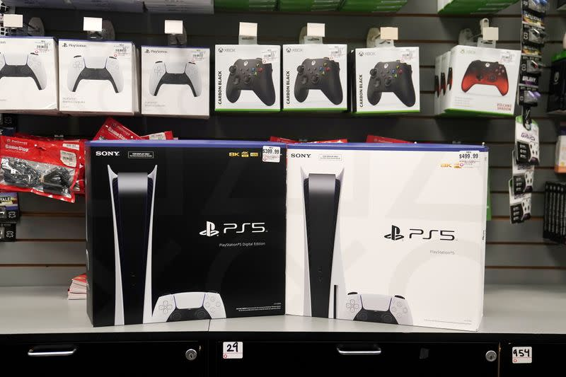 Inside a GameStop store Sony PS5 gaming consoles are pictured