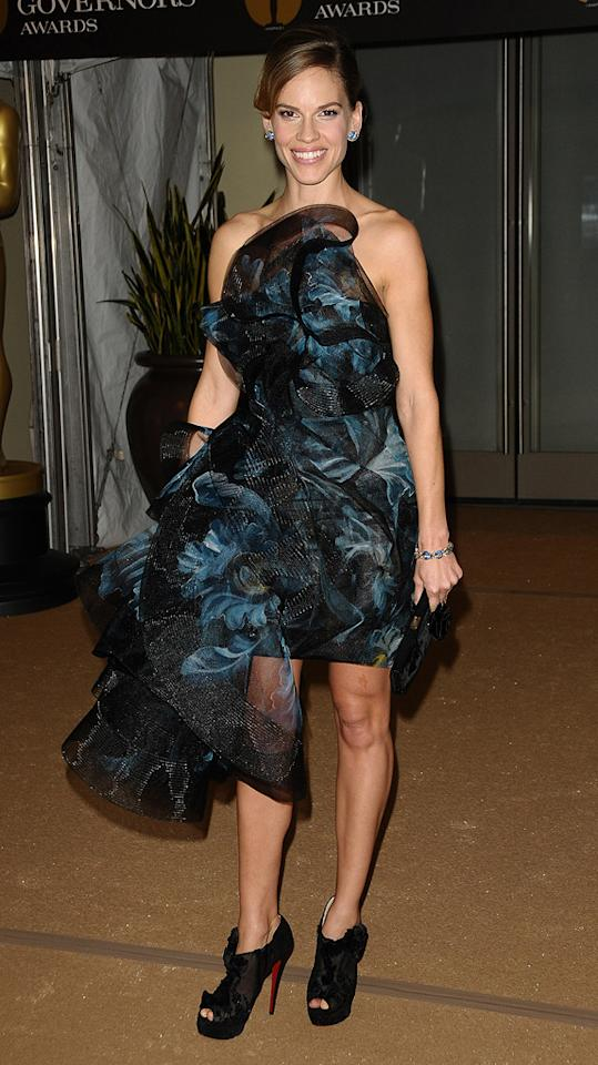 """<a href=""""http://movies.yahoo.com/movie/contributor/1800020739"""">Hilary Swank</a> attends the 2nd Annual AMPAS Governors Awards in Los Angeles on November 13, 2010."""