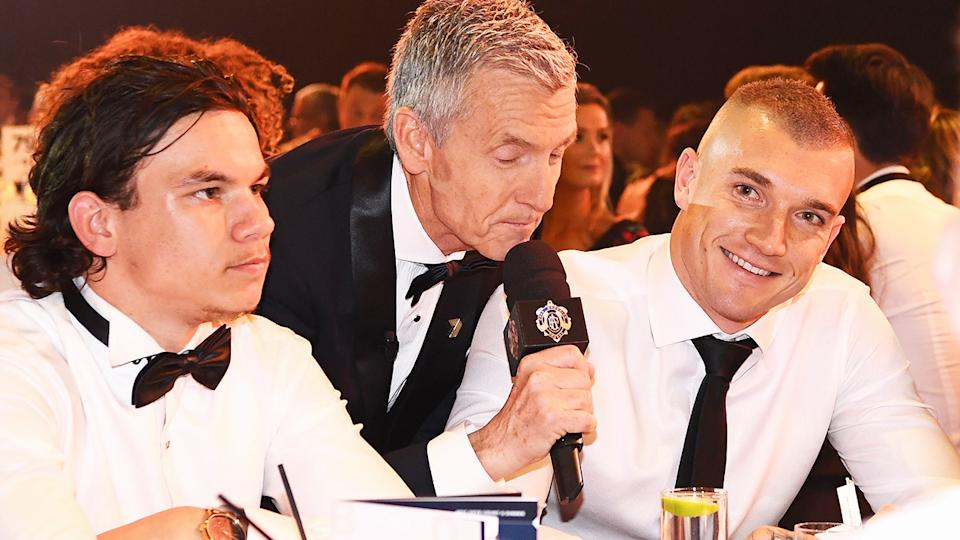 Bruce McAvaney, pictured here interviewing Dustin Martin at the 2017 Brownlow Medal.