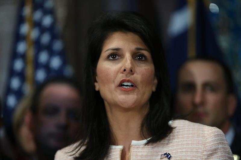 South Carolina Governor Nikki Haley speaks to the media as she asks that the Confederate flag be removed from the state capitol grounds in Columbia on June 22, 2015 (AFP Photo/Joe Raedle)