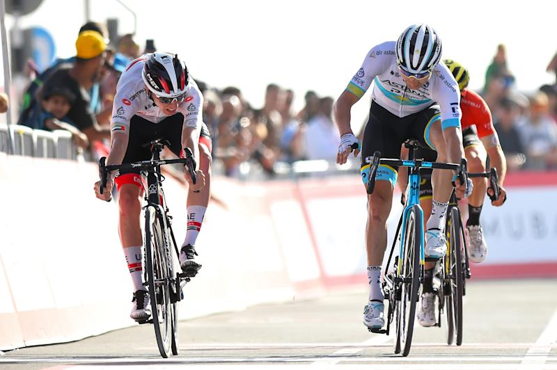 UAE Tour 2020 2nd Edition 5th stage Al Ain Jebel Hafeet 162 km 27022020 Alexey Lutsenko KAZ Astana Pro Team Tadej Pogacar SLO UAE Team Emirates Adam Yates GBR Mitchelton Scott photo Dario BelingheriBettiniPhoto2020