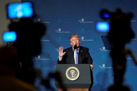 U.S. President Donald Trump speaks to the Heritage Foundation's President's Club Meeting in Washington