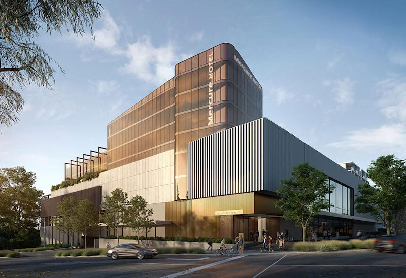 Projected image of Mercure and Bunnings hotel building