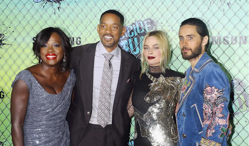NEW YORK, NY - AUGUST 01: (L-R) Actors Viola Davis, Will Smith, Margot Robbie and Jared Leto attend the