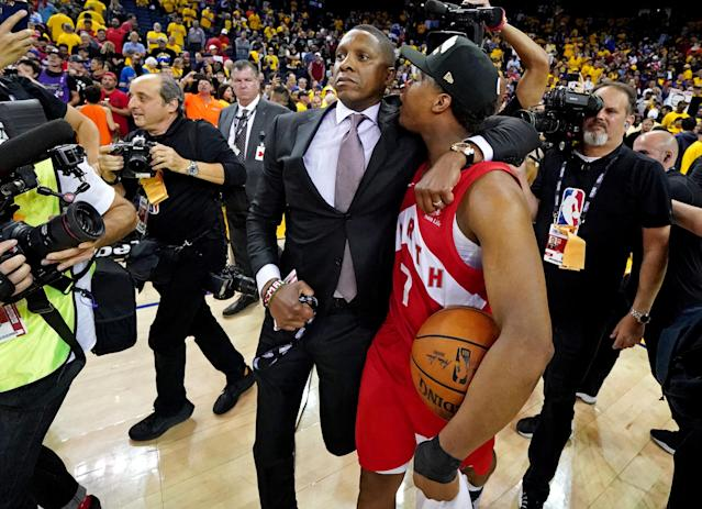 Jun 13, 2019; Oakland, CA, USA; Toronto Raptors president Masai Ujiri and guard Kyle Lowry (7) celebrate beating the Golden State Warriors in game six of the 2019 NBA Finals at Oracle Arena. Mandatory Credit: Kyle Terada-USA TODAY Sports