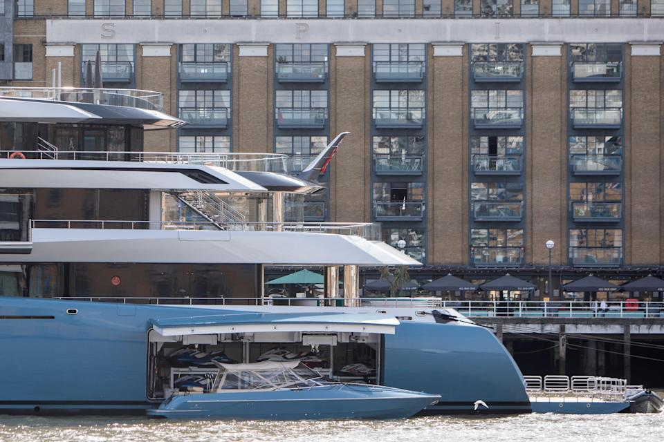 <p>Looming large: The superyacht has a tennis court on board and enough accommodation for up to 16 people. (WENN) </p>