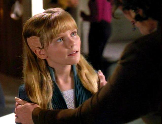 <p>One year before her breakthrough role as a child bloodsucker in <em>Interview With a Vampire</em>, 11-year-old Dunst donned a pair of oversized ears (instead of fanged teeth) to play a youthful Cairn who inadveretently causes — and then heals — a rift between Deanna Troi and her mother.<br><br>(Photo: Getty Images/CBS) </p>