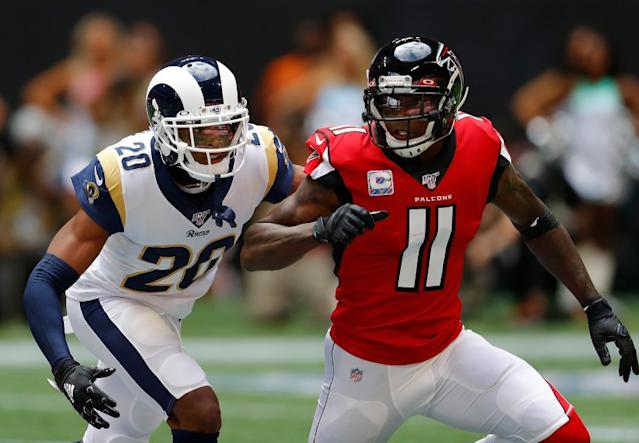"""Being able to shut down star receivers such as the Falcons' Julio Jones has made Rams cornerback Jalen Ramsey a valuable commodity. <span class=""""copyright"""">(Kevin C. Cox / Getty Images)</span>"""