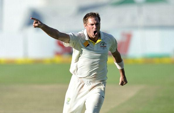 Ryan Harris of Australia celebrates as he takes the last wicket to win Australia on Day 5 of the third Test match between South Africa and Australia at Newlands in Capetown on March 5, 2014. AFP PHOTO / Luigi Bennett (Photo credit should read Luigi Bennett/AFP/Getty Images)
