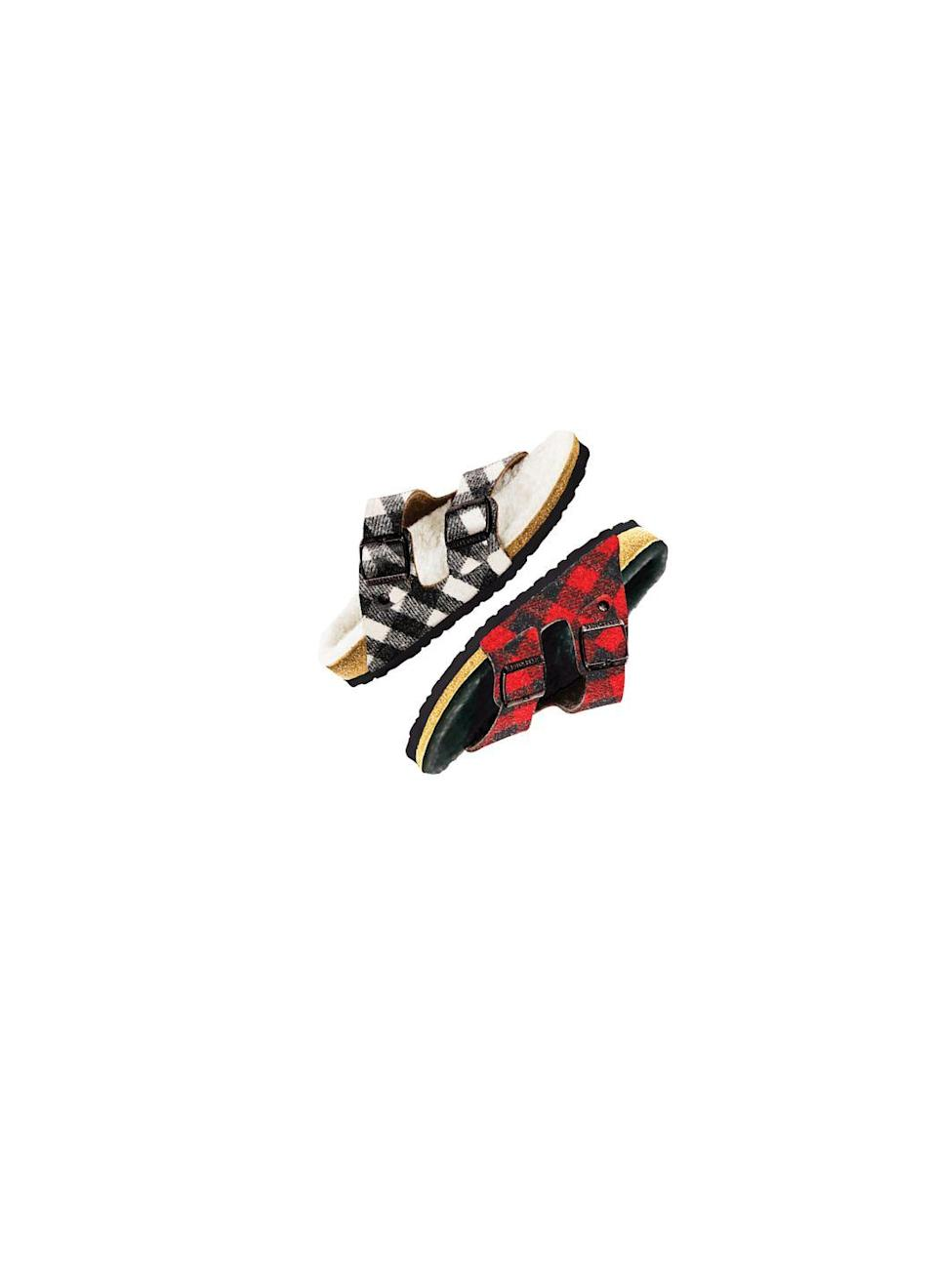 """<p>Sandal season can live on thanks to these cool weather plaid Birks. A snuggly layer of shearling lies atop the brand's signature anatomically shaped footbed.</p><p><em>Birkenstocks</em>, $125 per pair</p><p><a class=""""link rapid-noclick-resp"""" href=""""https://www.birkenstock.com/us/arizona-suede-leather/arizona-shearling-suedeleather-0-eva-u.html?dwvar_arizona-shearling-suedeleather-0-eva-u_color=49#q=shearling&sz=96"""" rel=""""nofollow noopener"""" target=""""_blank"""" data-ylk=""""slk:SHOP NOW"""">SHOP NOW</a></p>"""