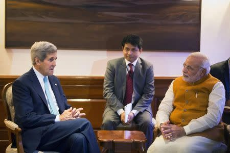 U.S. Secretary of State Kerry meets with Indian PM Modi at the Prime Minister's residence in New Delhi