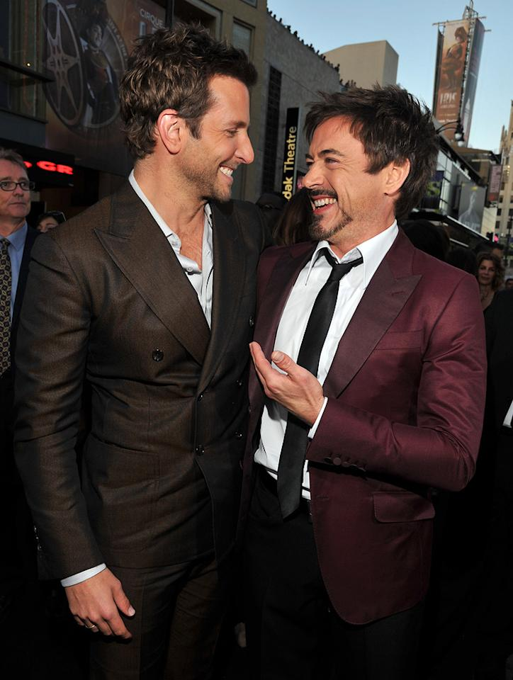 """<a href=""""http://movies.yahoo.com/movie/contributor/1804751131"""">Bradley Cooper</a> and <a href=""""http://movies.yahoo.com/movie/contributor/1800010914"""">Robert Downey Jr.</a> attend the Los Angeles premiere of <a href=""""http://movies.yahoo.com/movie/1810187722/info"""">The Hangover Part II</a> on May 19, 2011."""