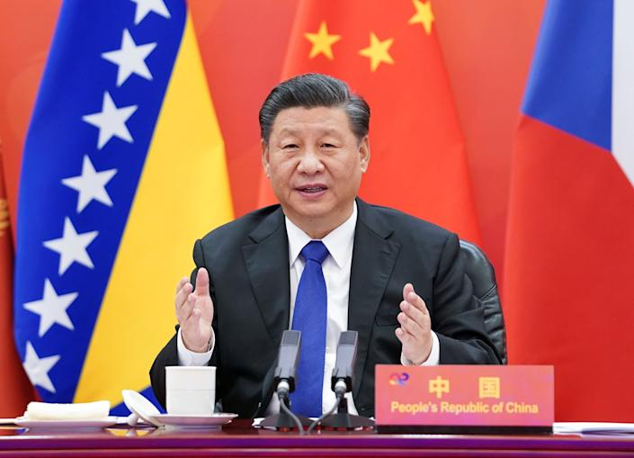 BEIJING, Feb. 9, 2021 -- Chinese President Xi Jinping chairs the China-Central and Eastern European Countries CEEC Summit and delivers a keynote speech via video link in Beijing, capital of China, Feb. 9, 2021. (Photo by Huang Jingwen/Xinhua via Getty) (Xinhua/Huang Jingwen via Getty Images)