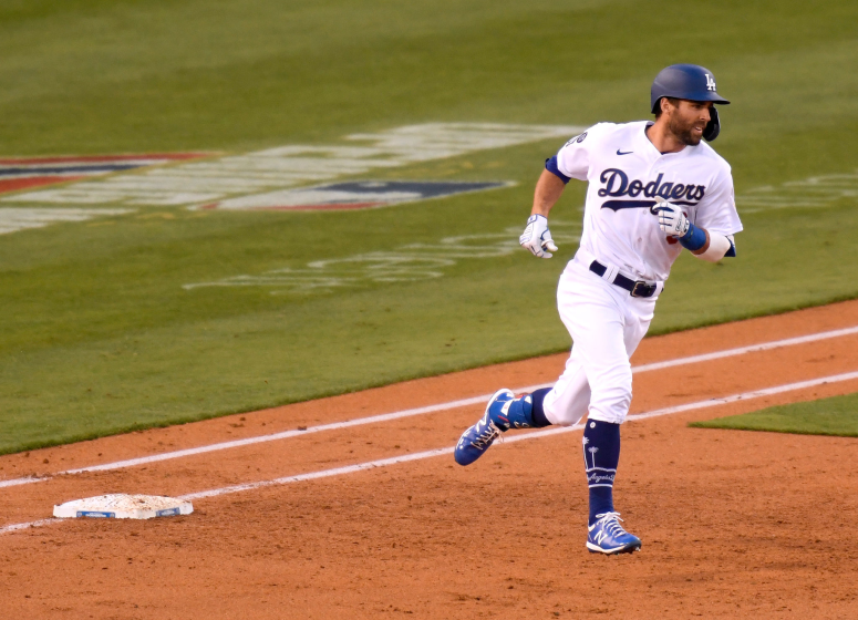LOS ANGELES, CALIFORNIA - APRIL 10: Chris Taylor #3 of the Los Angeles Dodgers.