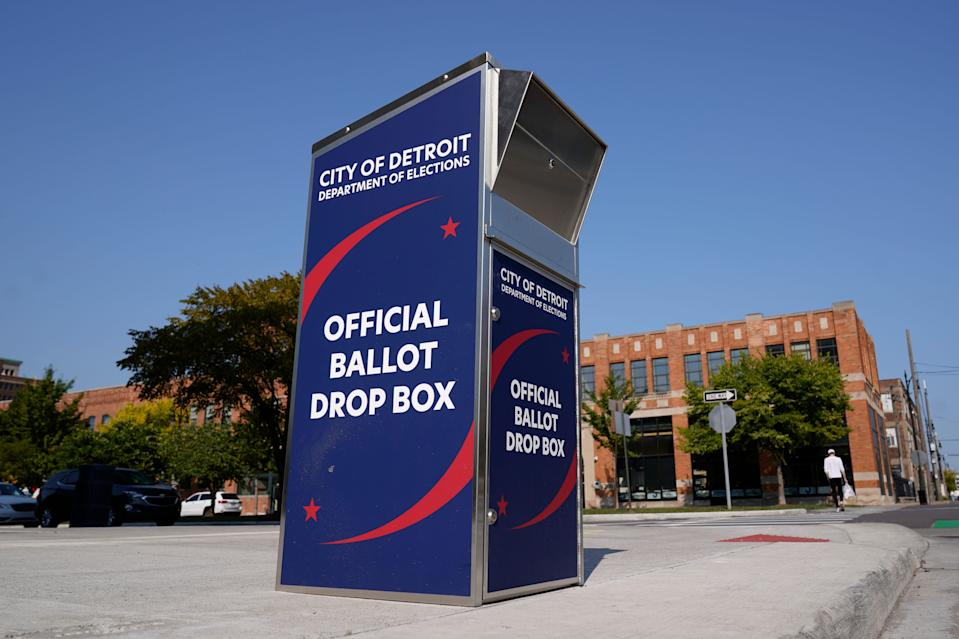 Voters can drop off absentee ballots in boxes instead of using the mail in Detroit.