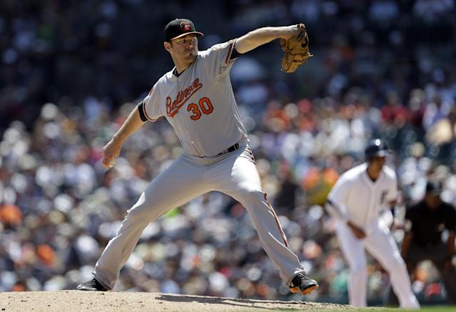 Baltimore Orioles pitcher Chris Tillman throws against the Detroit Tigers during the sixth inning of a baseball game in Detroit, Wednesday, June 19, 2013. (AP Photo/Paul Sancya)