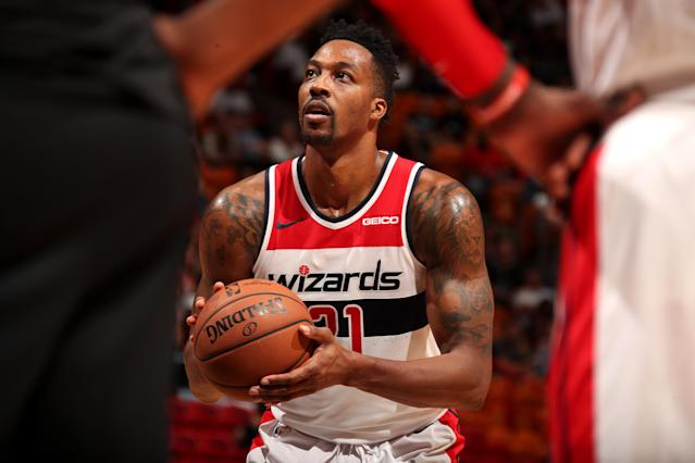 """<a class=""""link rapid-noclick-resp"""" href=""""/nba/teams/was"""" data-ylk=""""slk:Wizards"""">Wizards</a> center <a class=""""link rapid-noclick-resp"""" href=""""/nba/players/3818/"""" data-ylk=""""slk:Dwight Howard"""">Dwight Howard</a> will likely need surgery after a lingering gluteal injury has caused him frequent issues this season. (Issac Baldizon/Getty Images)"""