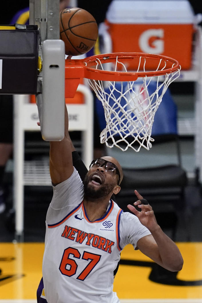 New York Knicks center Taj Gibson (67) shoots during the third quarter of a basketball game against the Los Angeles Lakers Tuesday, May 11, 2021, in Los Angeles. (AP Photo/Ashley Landis)