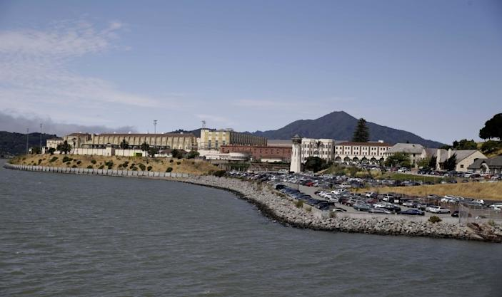 """A COVID-19 outbreak at San Quentin State Prison has killed more than a dozen inmates. <span class=""""copyright"""">(Eric Risberg / Associated Press)</span>"""