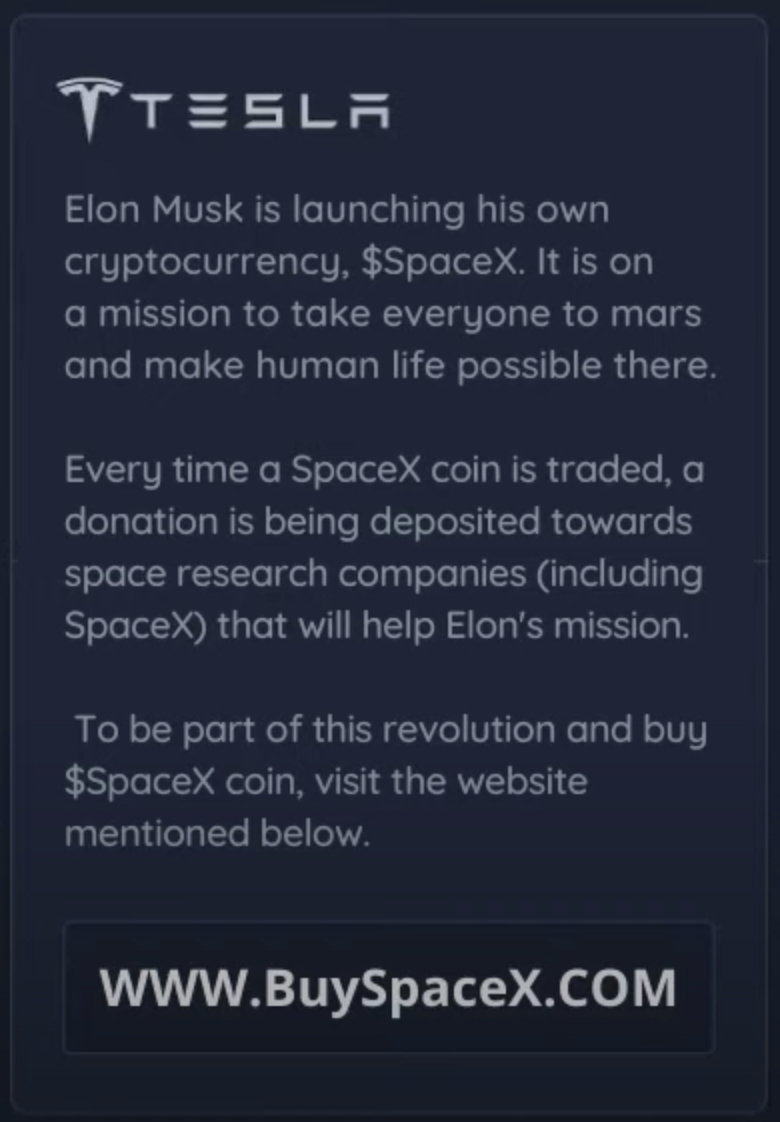 Screenshot of fake $SpaceX coin ad on YouTube