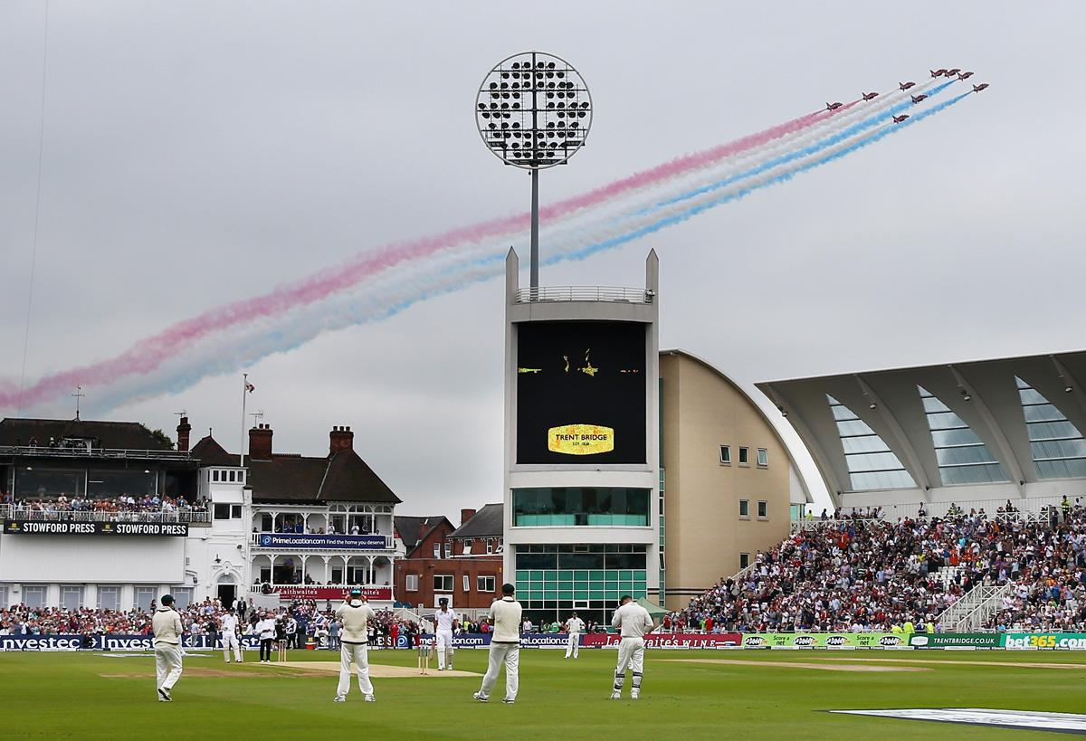 NOTTINGHAM, ENGLAND - JULY 10:  The Red Arrows fly over before day one of the 1st Investec Ashes Test match between England and Australia at Trent Bridge Cricket Ground on July 10, 2013 in Nottingham, England.  (Photo by Ryan Pierse/Getty Images)