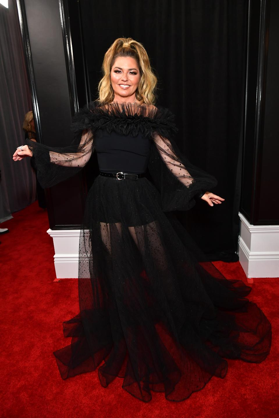 """Twain graced the Grammys red carpet in a sheer black ensemble with ruffled neckline, pulling her hair back into an """"I Dream of Genie""""-inspired ponytail. The 54-year-old Canadian singer-songwriter also took the stage as a presenter at this year's awards."""