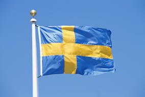 Flag of SwedenBlue Clear Sky Day  Outdoors Rectangle Rippled Flag Wind Identity Patriotism Culture Close-up Color Image Nobo