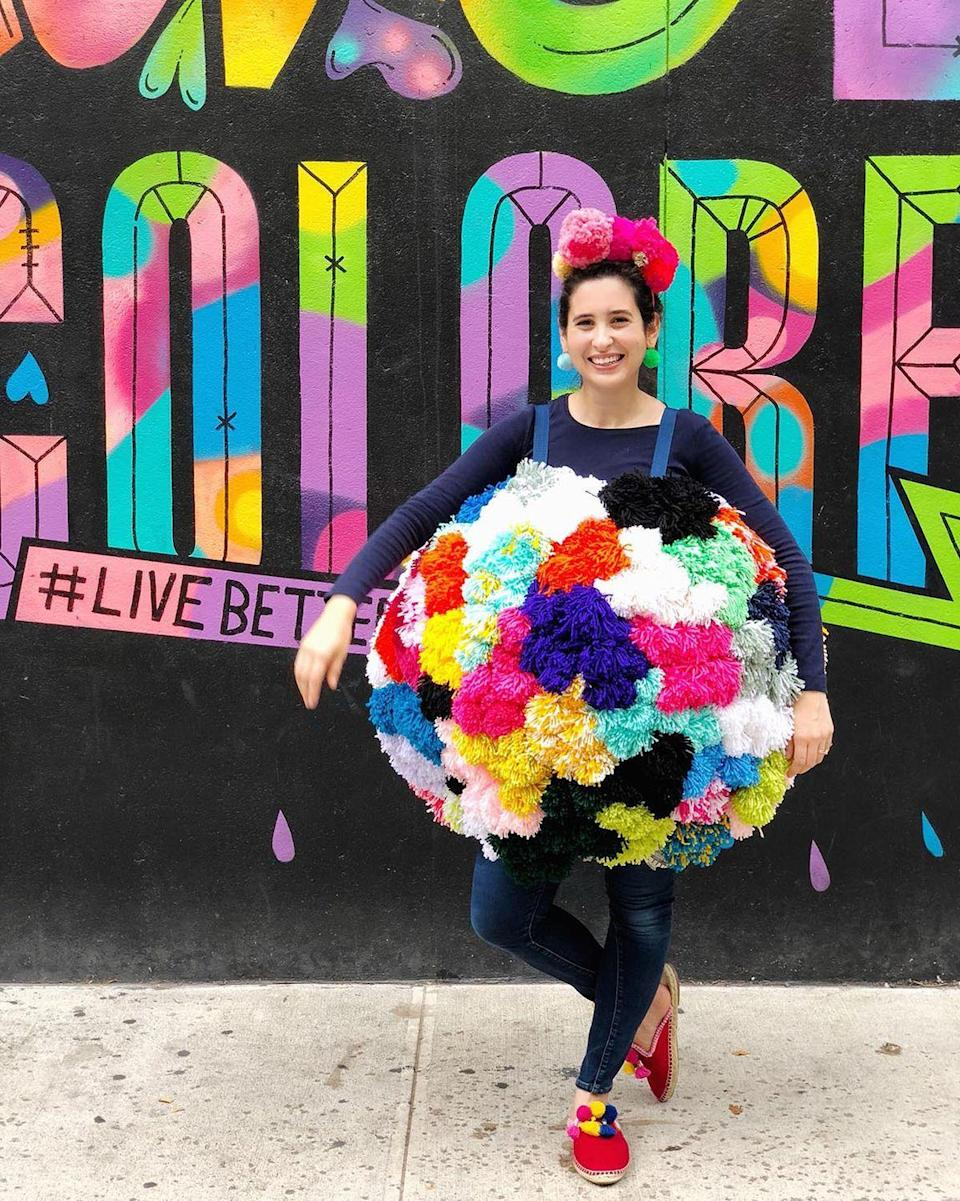 """<p>Have a bunch of yarn lying around your craft room? Use it to create this larger-than-life outfit. </p><p><strong>Get the tutorial at <a href=""""https://theneonteaparty.com/2018/10/13/diy-giant-pom-pom-costume/"""" rel=""""nofollow noopener"""" target=""""_blank"""" data-ylk=""""slk:The Neon Tea Party"""" class=""""link rapid-noclick-resp"""">The Neon Tea Party</a>.</strong></p><p><strong><a class=""""link rapid-noclick-resp"""" href=""""https://www.amazon.com/Intex-42-Jumbo-Ball-2-Pack/dp/B00DIHAGS8?tag=syn-yahoo-20&ascsubtag=%5Bartid%7C10050.g.22118522%5Bsrc%7Cyahoo-us"""" rel=""""nofollow noopener"""" target=""""_blank"""" data-ylk=""""slk:SHOP BEACH BALLS"""">SHOP BEACH BALLS</a><br></strong></p>"""