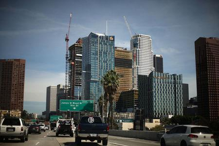 Construction cranes are seen in downtown Los Angeles, California, U.S., March 7, 2017. REUTERS/Lucy Nicholson