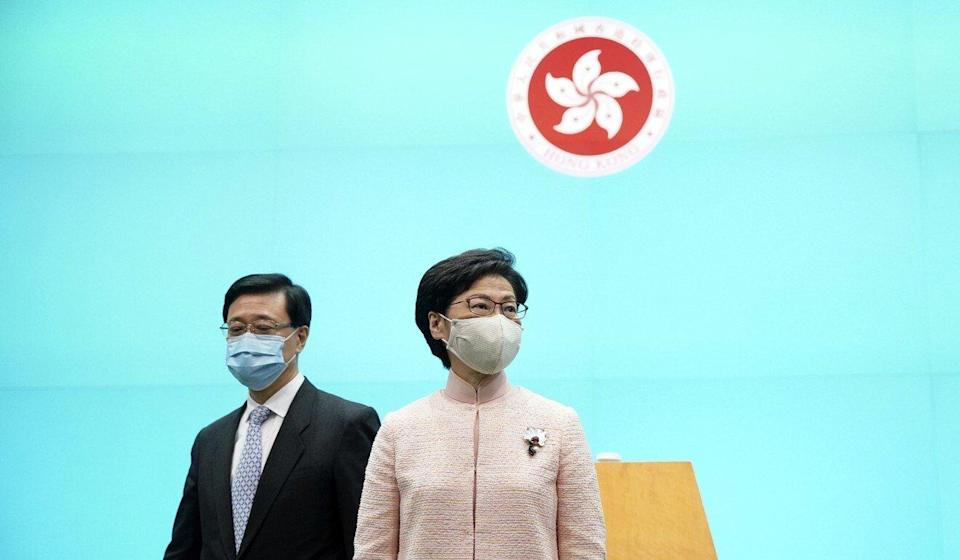 Carrie Lam (right) says there has been no significant outflow of capital. Photo: Winson Wong