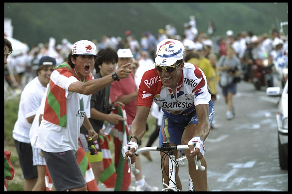 16 Jul 1996:  Miguel Indurain of Spain starts to feel the pressure of the climb up to Col D''Aubisque as his fans in his home land try to urge him on during stage 16 of the Tour De France from        Agen Lourdes to Hautacam.Mandatory Credit: Mike Powell/Allsport UK