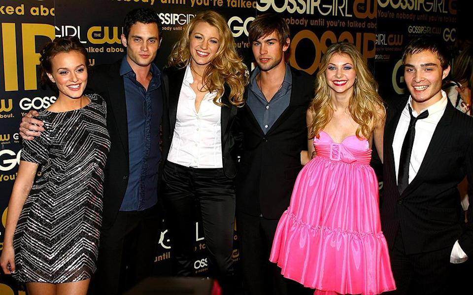 <p>In 2007, Lively was cast in The CW's <i>Gossip Girl</i>, which became a hit for the network and ran until 2012. She poses with fellow cast members Leighton Meester, Penn Badgley, Chace Crawford, Taylor Momsen, and Ed Westwick at the launch party on Sept. 18, 2007 in New York City. <i>(Photo: Scott Wintrow/Getty Images)</i></p>