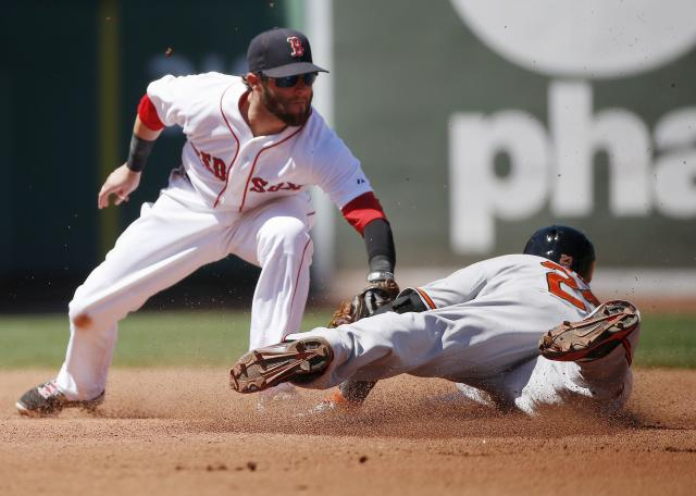 Baltimore Orioles' Nelson Cruz, right, is safe with a double as Boston Red Sox's Dustin Pedroia puts on a late tag in the fourth inning of a baseball game in Boston, Sunday, July 6, 2014. (AP Photo/Michael Dwyer)