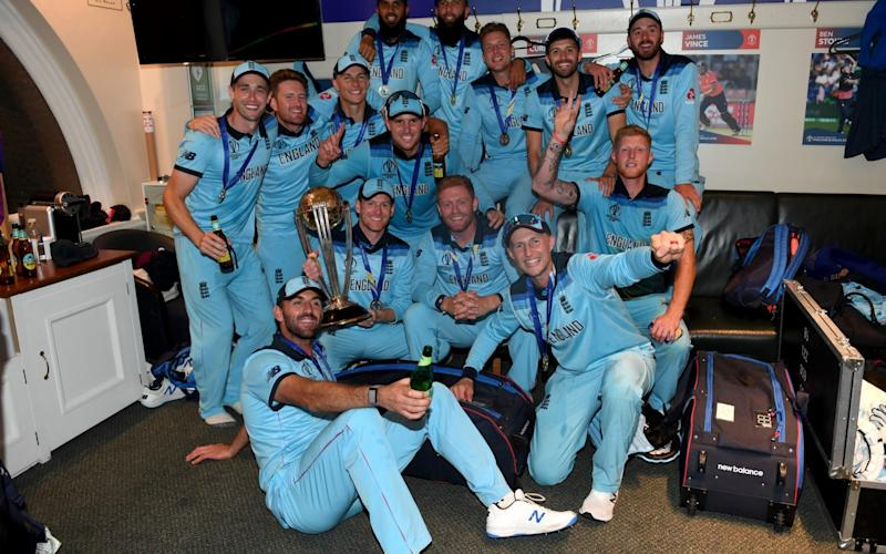 England celebrate in the dressing rooms after winning the Final of the ICC Cricket World Cup 2019 between England and New Zealand at Lord's Cricket Ground - The celebrations from Miss Pennys discount shop in Bradford to Downing Street with the PM - Cricket World Cup book extract - GETTY IMAGES