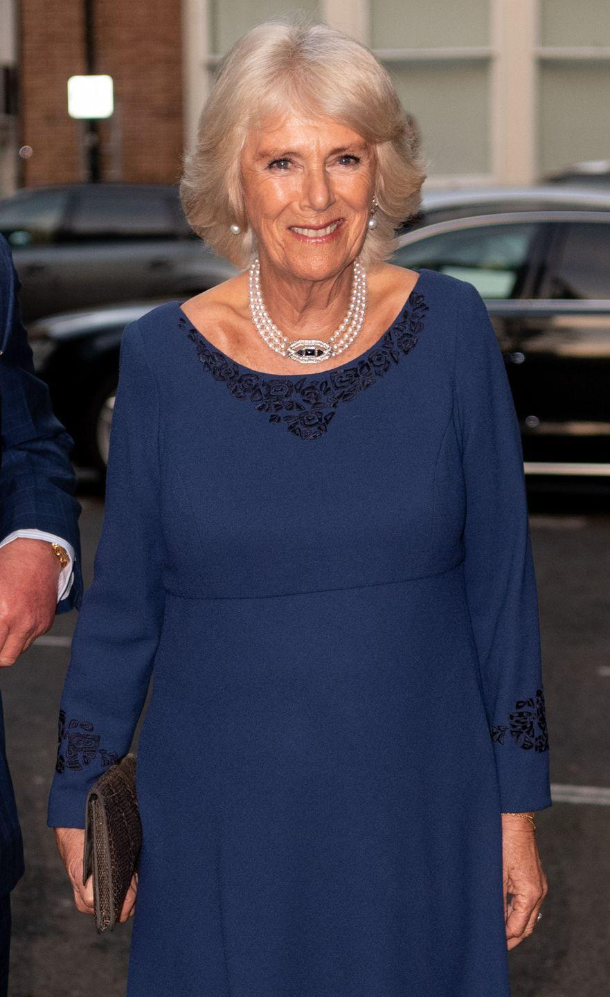 <p>Camilla, Duchess of Cornwall paired a navy dress with black embroidery with a pearl and sapphire necklace and drop earrings for an Age UK Tea at Spencer House in honor of Prince Charles's 70th birthday. </p>